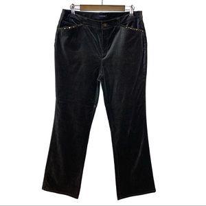 JONES NEW YORK GRAY VELVET PANTS SIZE 12 STRETCH